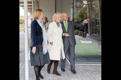 Norman Foster and Maggie's chief executive Laura Lee show the Duchess of Cornwall round the new Maggie's Manchester at the Christie Hospital